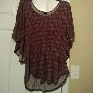 Tops - Flowy Blouse with Leaves Pattern